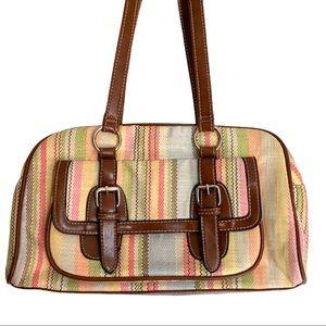 Vintage Pastel Plaid Striped Shoulder Purse